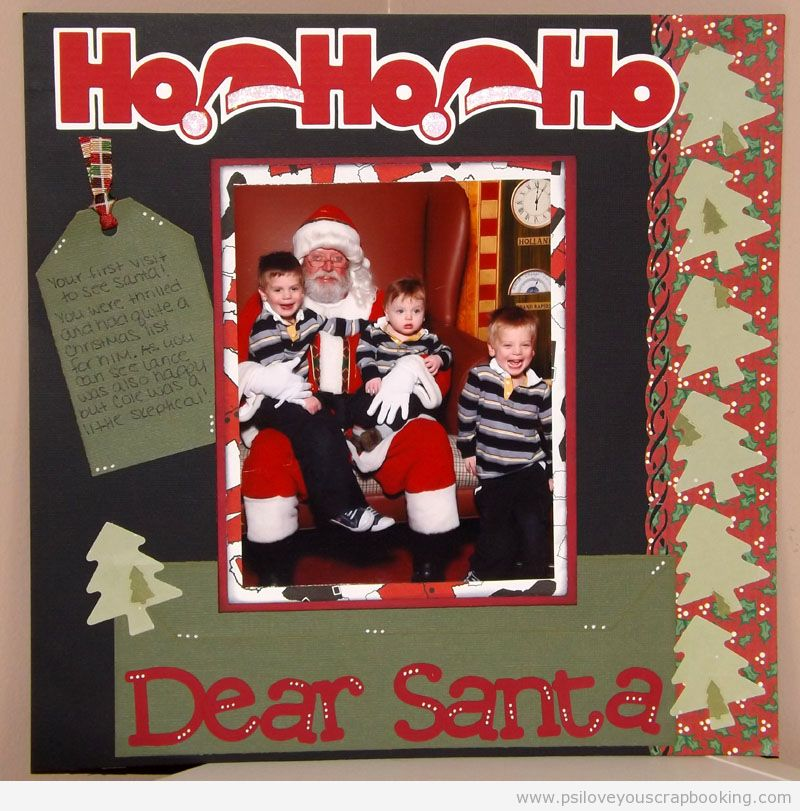 Christmas Scrapbook Layout with Christmas Tree die cuts and titles