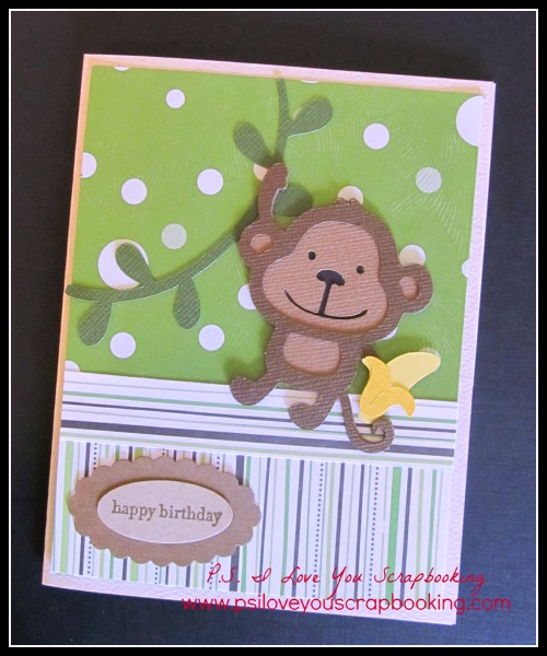 Monkey Birthday Card Using the Create A Critter Cricut Cartridge - This sweet monkey and banana will make the perfect birthday card for little boys! I need to make this Cute Monkey Cricut Card!