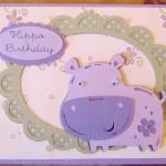 Hippo Birthday Card Using Elegant Edges and Create A Critter Cricut Cartridges