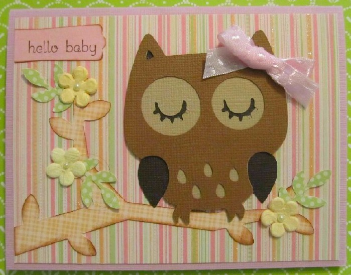 This Cricut Owl Baby Girl card is adorable! It uses the Create A Critter Cricut Cartridge and Songbord Cricut Cartridge. I love how this turned out!