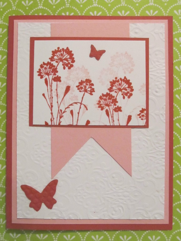 Serene Silhouettes rubberstamp set and Beautiful Wings Embosslits were used to create this great handmade card.