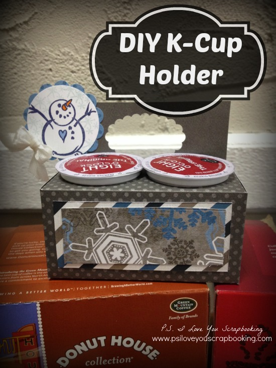 This DIY K Cup Holder is made from scrapbooking paper and decorated with a cute snowman stamp. This is an awesome little Christmas gift, stocking stuffer, or Thank You present! I need to make some of these for my co workers.