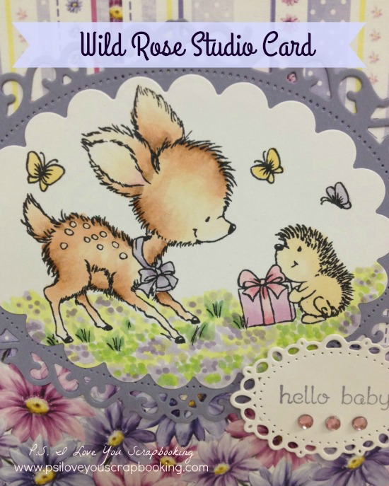 Wild Rose Studio Bluebell and Hedgehog Handmade Card - This sweet baby card is adorable. It uses the deer and hedgehog stamp from Wild Rose Studios. I need to get that stamp!!