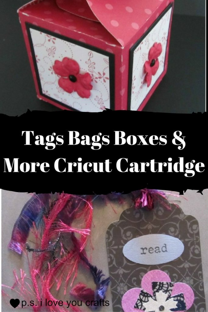 The Tag Bags Boxes and More Cricut Cartridge has boxes and gift bags perfect for party favors and gift cards. There are also tons of tags that you can use on cards, scrapbook pages, and to make bookmarks.