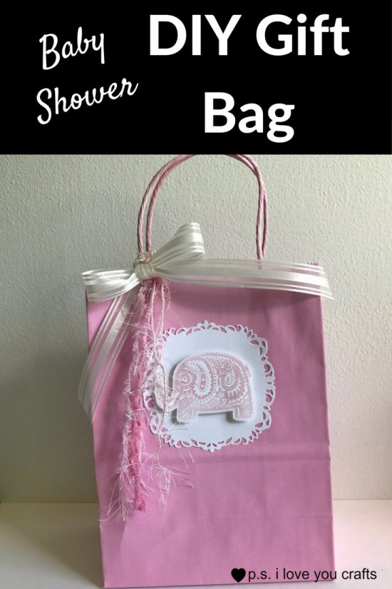 make a baby shower gift bag using scrapbooking paper rubber stamps