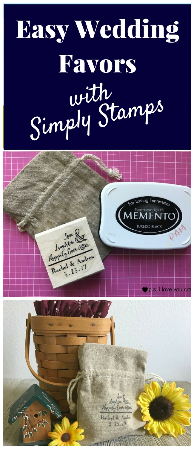 These personalized wedding favors are easy to make using a linen bag