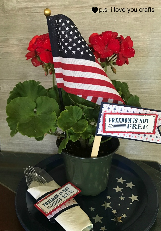 Patriotic party decorations with simply stamps p s i for Patriotic welcome home decorations