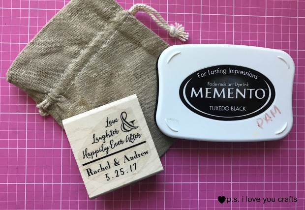 These Personalized Wedding Favors are easy to make using a linen bag and a personalized wedding stamp from Simply Stamps. You can make favors for a rustic wedding, beach wedding, or other themes.